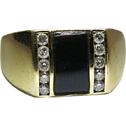 Vintage Mens 14K Yellow Gold Diamond And Onyx Ring Size 13