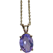 Vintage 14K Yellow Gold 4.55 Carat Amethyst Pendant Necklace - 21-inches