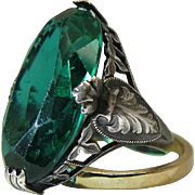 SOLD Antique Art Nouveau Sterling Silver Ring With Large Emerald Green Glass Stone