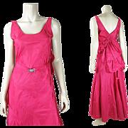Elegant 1930's Vintage Pink Rayon Taffeta Bias Cut Evening Dress