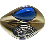 Stylish Vintage 14K Yellow Gold Blue Spinel And Diamond Ring