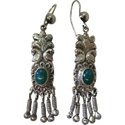 Exotic Vintage 3-Inch Long Sterling Silver And Chrysoprase Earrings With French Wires