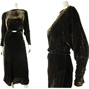 Luscious 1930's Vintage Bias Cut Silk Velvet Dress With Art Deco Buckle And Dolman ...