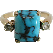 Vintage 14K Yellow Gold Turquoise And Rock Crystal Ring By Baden & Foss, N.Y.