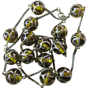 Luminous Antique Silver Foxtail Chain Necklace With Olive Green Glass Silver Overlay Beads
