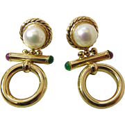 Vintage14K Yellow Gold Door Knocker Earrings With 7.5-mm Cultured Pearls
