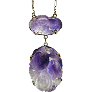 Antique 14K Yellow Gold Carved Chinese Amethyst Double Drop Pendant Necklace