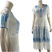 Breezy 1920's Embroidered Gauzy Cotton Dress - Blue And White