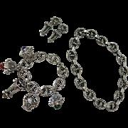 Retro Era 1940's Vintage Italian 800 Silver Etruscan Revival Charm Bracelet, Necklace And Clip
