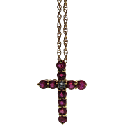 Vintage 18K Yellow Gold Diamond And Ruby Cross On 18-Inch 14K Gold Chain