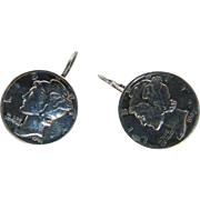 1940's Mercury Dime Earrings With Kidney Wires