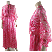 Fluttery 1970's French Printed Silk Chiffon Dress With Ann Marks Paris Label