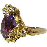 Opulent Vintage 14K Yellow Gold Amethyst And Diamond Faux Bois Cocktail Ring