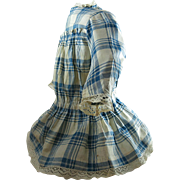 Antique 1880's Child's Blue And White Plaid Dress With Provenance