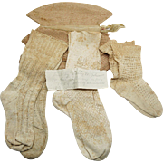 Three Pair Of 1840's Hand Knit Child's Stockings With Provenance And Drawstring Storage Bag