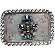 Vintage Native American Silver And Gold Belt Buckle With Detachable Zuni G.B. Natachu Inlaid .