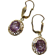 Vintage 14K Yellow Gold Alexandrite Dangle Earrings With Lever-Backs