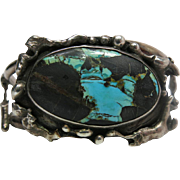 Vintage Native American Sterling Silver Modernist Cuff Bracelet With Turquoise