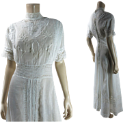 Pretty Antique Edwardian Embroidered Cotton And Lace Tea Dress