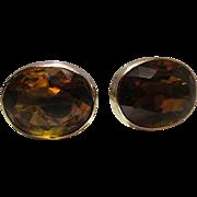 SALE PENDING Sumptuous Antique 14K Gold 5.44 / 10.88 Carat Brandy Citrine Screwback Earrings