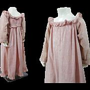 Antique Circa 1820 Georgian - Regency Pink And White Striped Child's Dress