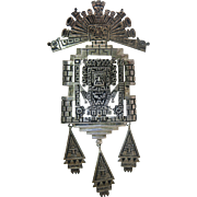 Large And Dramatic Peruvian Sterling Silver Brooch With Figural Pre-Columbian Motif