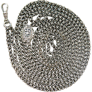 Exceptional Antique Victorian 74-Inch Sterling Silver Byzantine Guard Chain Necklace With Slid