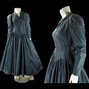 1980's Vintage Norma Kamali Black Taffeta Cocktail Dress
