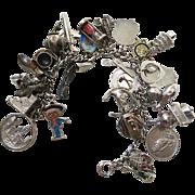 Vintage Loaded Charm Bracelet With 26 Charms - Mechanicals, Enamel, Travel Etc.