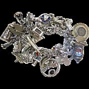 Vintage Sterling Silver Charm Bracelet Loaded With 24 Charms - Mechanical, Enamel, Etc.