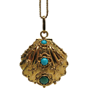 Extravagant Vintage Mechanical 18K Gold Turquoise And Cultured Pearl Oyster Pendant