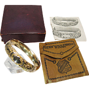 Amazing Antique Victorian Gold Filled Bangle With Original Box, Advertising Storage Bag & ...