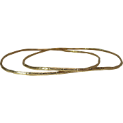 Lovely Pair Of 14K Yellow Gold Bamboo Form Vintage Bangle Bracelets