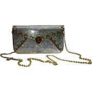 Vintage Judith Leiber Full Crystal Envelope Clutch Minaudiere Handbag With Cameo