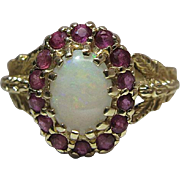 Vintage 14K Yellow Gold Opal & Ruby Ring With Caryatid Shoulders