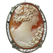 Vintage Circa 1920 14K White Gold Carved Cameo Pendant Brooch