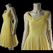 Breezy 1950's Vintage Ceil Chapman Sleeveless Silk Chiffon Cocktail or Evening Dress