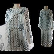 Fluttery 1970's 2-Piece Printed Chiffon Georgette Dress & Shawl Ensemble