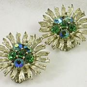SALE LISNER Emerald Green Sapphire Blue Aurora Borealis Clip Earrings