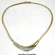Vintage Crystal Rhinestone Necklace or Choker in White and Yellow Goldtone