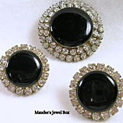SALE Vintage Demi Parure Earrings and Pin with Clear Rhinestones Sim Onyx