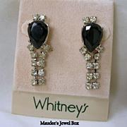 SALE WHITNEY Simulated Black Onyx and Clear Rhinestone Dangle Earrings