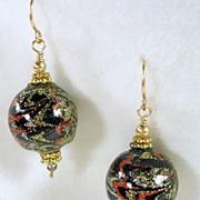 SALE Dangle Black, Gold, Silver, Copper Enamel Pierced Earrings