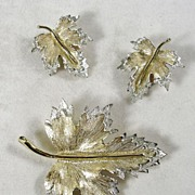 Signed Sarah Cov. Vintage Brooch and Matching Earrings in Silver and Gold  Tone Leaves †...