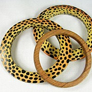 SALE Wood Bangle Bracelets with a Leopard Spot Motif and a Solid Brown Spacer