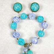 Lisner Demi Parure Vintage Earrings and Tasseled Bracelet Set in Colors of Turquoise and ...