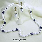Signed Hong Kong Vintage Lucite Navy and White Beaded Necklace with Coordinating Clip Earrings