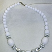 Vintage Lucite White and Silver Tone Beaded Necklace – Stunning!