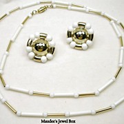Vintage White and Gold Tone Chain with Coordinating Clip Earrings