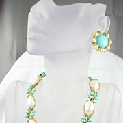 SALE Vintage Crown Trifari Faux Turquoise and Faux Pearl Necklace and Earrings in Gold Tone ..